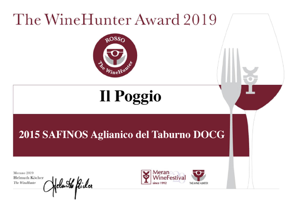 The WineHunter Awards 2015 SAFINOS Aglianico Del Taburno DOCG