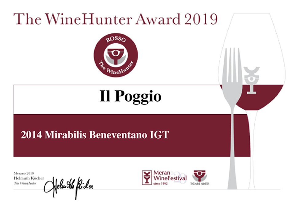 The WineHunter Awards 2019 Mirabilis Beneventano IGT 2014